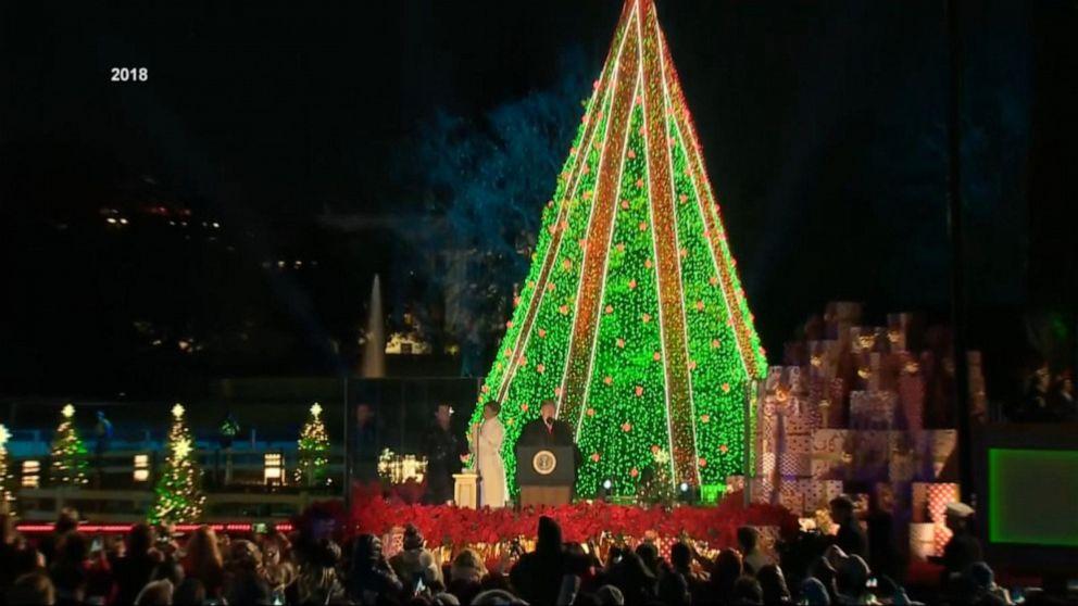 Us Capitol Christmas Tree Lights Up Washington Abc News