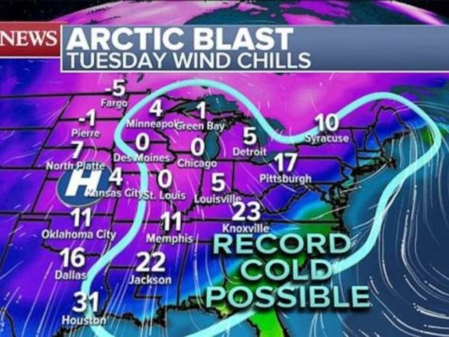 PHOTO: Saturday was the end of the latest cold blast across much of the eastern U.S., however a more intense, much colder, record breaking cold blast that will impact more than half of the U.S. is on the way.