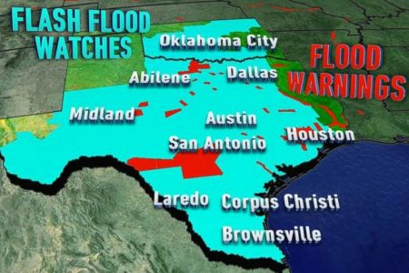 More Rain on the Way for Flood Ravaged Texas  Brazos River Reaches     PHOTO  Most of Texas and Oklahoma were under Flash Flood Watches Tuesday  due to torrential