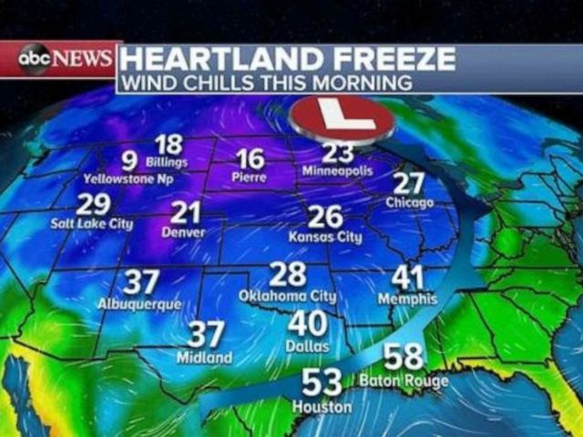 PHOTO: Many Americans from the Rockies to the Gulf are waking up to the coldest air of the season Saturday morning.