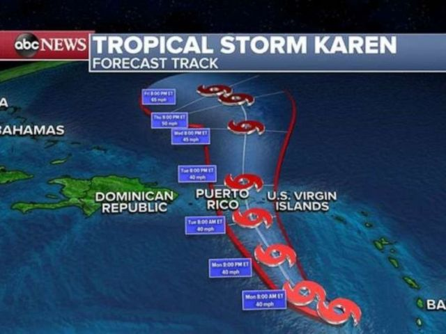 PHOTO: Tropical Storm Karen is now a minimal Tropical Storm with winds gusting at only 40 mph.