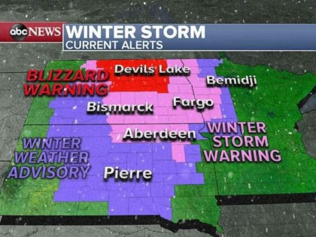 PHOTO: Some areas could see close to 3 feet of snow this weekend in the Dakotas.