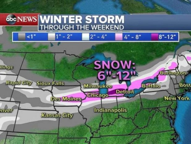 The heaviest snow will fall from Chicago to Detroit and into northern New York.