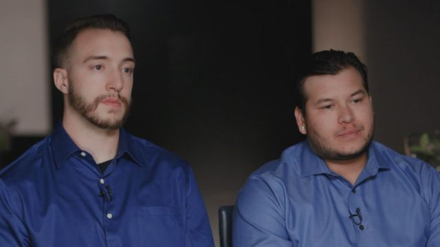 Stephen Schuck (left), a Mandalay Bay maintenance engineer, Jesus Campos (right), a security guard at the Mandalay Bay, are seen here during an interview with Nightline.