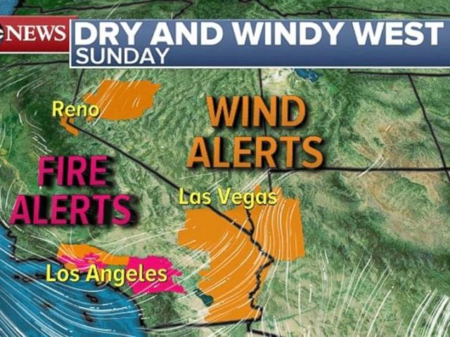 PHOTO: Fire and wind alerts are in place for parts of southern California.