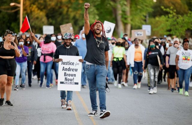 PHOTO: Protesters march to the site where sheriff's deputies killed Andrew Brown Jr. in Elizabeth City, North Carolina, May 1, 2021.