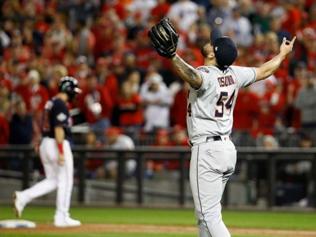 PHOTO: Houston Astros relief pitcher Roberto Osuna celebrates their teams win against the Washington Nationals in Game 3 of the baseball World Series Saturday, Oct. 26, 2019, in Washington. The Astros won 4-1.