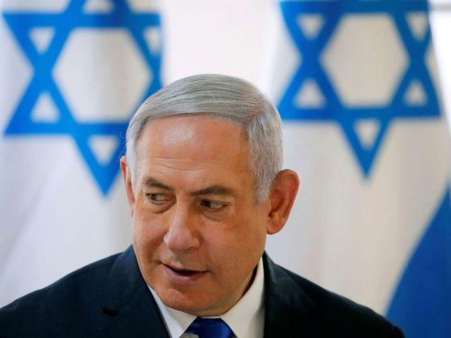 PHOTO: Israeli Prime Minister Benjamin Netanyahu gestures during a weekly cabinet meeting in the Jordan Valley, in the Israeli-occupied West Bank, Sept. 15, 2019.