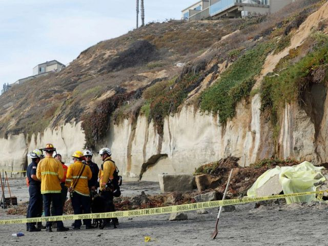 PHOTO: Emergency responders attend to a cliff collapse at a beach in Encinitas, Calif., on Friday, Aug. 2, 2019.