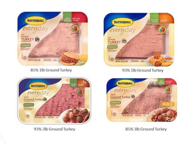 PHOTO: Some Butterball ground turkey products involved in a voluntary recall are pictured in an image released by the company on March 13, 2019.