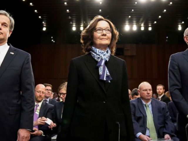 PHOTO: FBI Director Christopher Wray; CIA Director Gina Haspel and Director of National Intelligence Dan Coats arrive to testify before a Senate Intelligence Committee hearing on worldwide threats on Capitol Hill in Washington,D.C., Jan. 29, 2019.