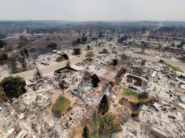 PHOTO: Homes are burned away in Redding, California after wildfires ravaged the area in this aerial photo.
