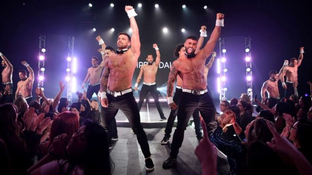 PHOTO: In this Jan. 24, 2020, file photo, MTV's Joss Mooney and Rogan O'Connor perform at Chippendales at Rio All-Suite Hotel & Casino in Las Vegas.