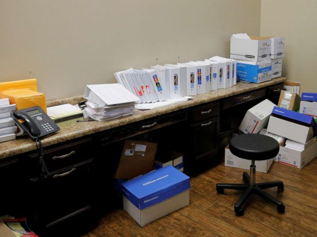 PHOTO: Binders and boxes store the database of black lung cases gathered by Dr. Brandon Crum at United Medical Group in Pikeville, Ky., May 22, 2018. Dr. Crum first noticed the massive number of x-rays of complicated black lung in the region.