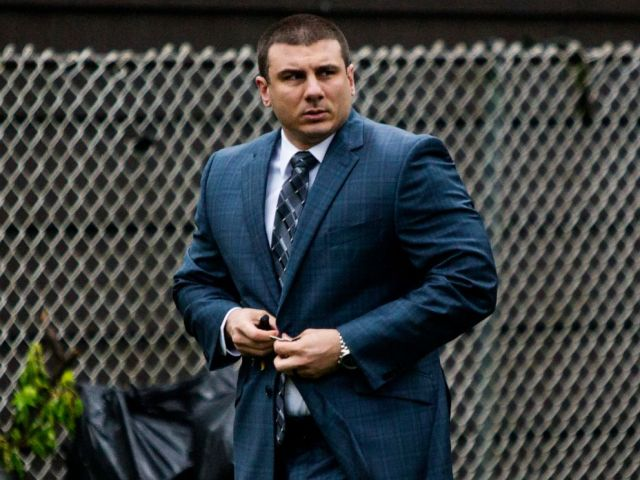 PHOTO: In this May 13, 2019, file photo, New York City police officer Daniel Pantaleo leaves his house in Staten Island, N.Y.