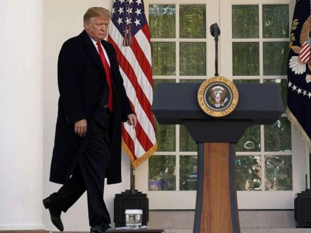 PHOTO: President Donald Trump walks out of the Oval Office to announce a deal to end the partial government shutdown in the Rose Garden of the White House in Washington, Jan. 25, 2019.