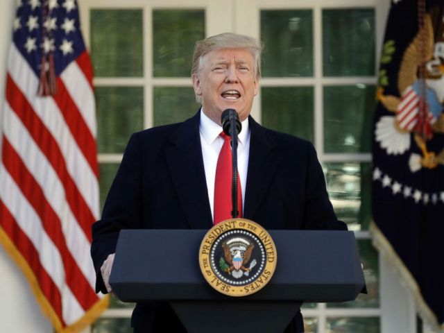 PHOTO: President Donald Trump speaks in the Rose Garden of the White House, Jan 25, 2019, in Washington.