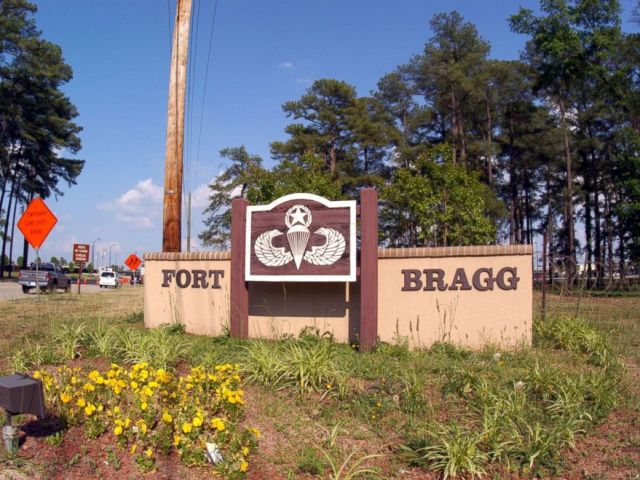 PHOTO: One of the entrance signs to facilities in Fort Bragg, May 13, 2004, in Fayettville, N.C.