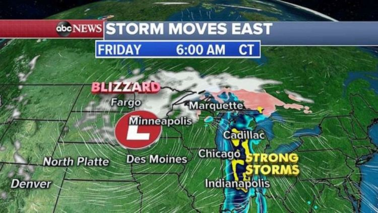 Snow is falling in northern Minnesota on Friday morning, while strong storms move through Indiana and Ohio.