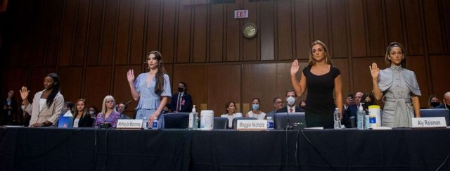 PHOTO: U.S. Olympic gymnasts Simone Biles, McKayla Maroney, Maggie Nichols, and Aly Raisman are sworn in to testify during a Senate Judiciary hearing on Capitol Hill, in Washington, D.C., Sept. 15, 2021.