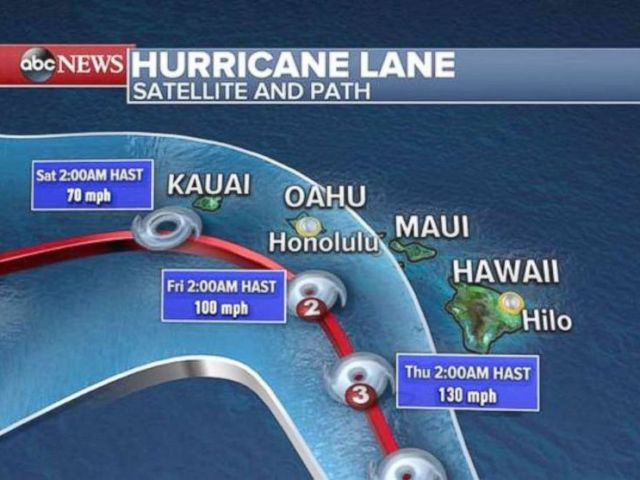 PHOTO: An ABC News weather map shows the path of Hurricane Lane for Hawaii.