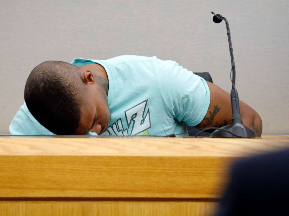 PHOTO: Joshua Brown, a neighbor of victim Botham Jean, is overcome with emotion while giving testimony in court, Tuesday, Sept. 24, 2019, in Dallas.