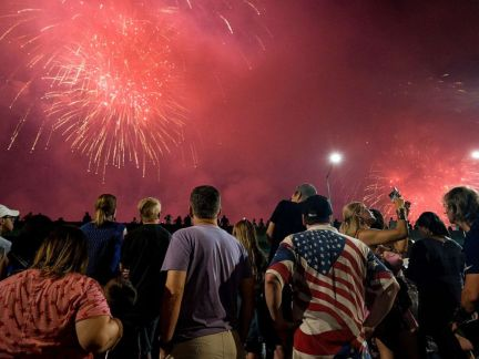 PHOTO: In this file photo from July 4, 2018, spectators watch a fireworks display as part of Independence Day festivities in New York.
