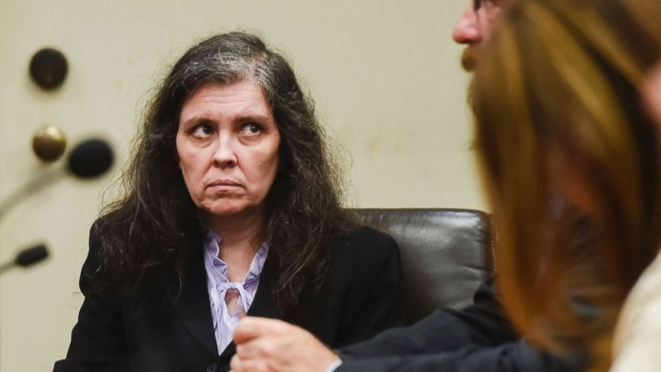 Louise Turpin appears in Riverside Superior Court during an information hearing in Riverside, Calif. Aug. 3, 2018.