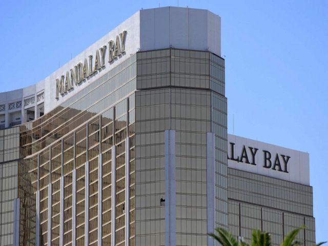 PHOTO: The 2 broken windows on the 32nd floor of the Mandalay Bay Resort and Casino.