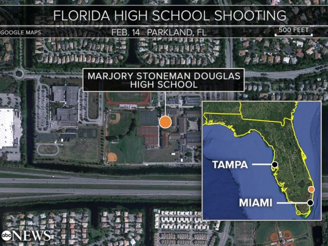 PHOTO: A map shows the location of Marjory Stoneman Douglas High School in Parkland, Fla.