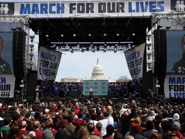 PHOTO: Emma Gonzalez addresses the conclusion of the March for Our Lives event demanding gun control after recent school shootings at a rally in Washington, March 24, 2018.