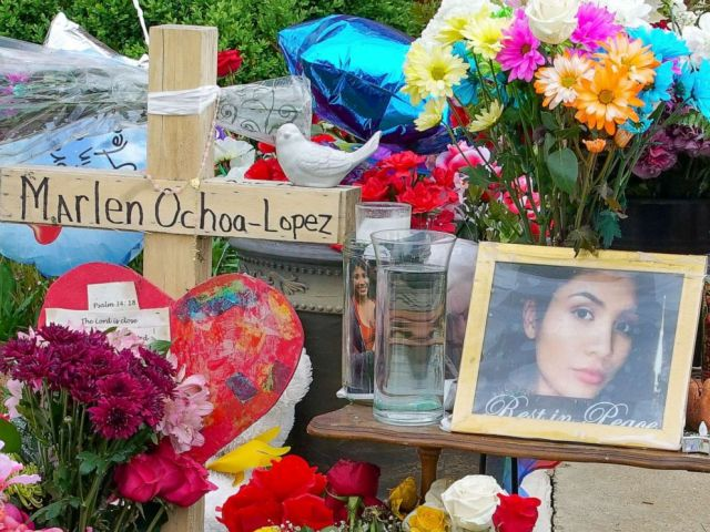 PHOTO: A memorial for Marlen Ochoa-Lopez is displayed outside of the home where Ochoa-Lopez was murdered last month, May 17, 2019.