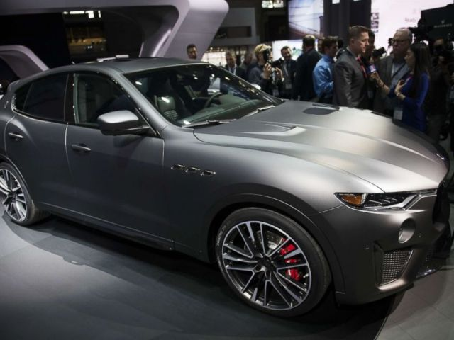 PHOTO: The Maserati Levante Trofeo vehicle is displayed during the 2018 New York International Auto Show (NYIAS) in New York, March 28, 2018.