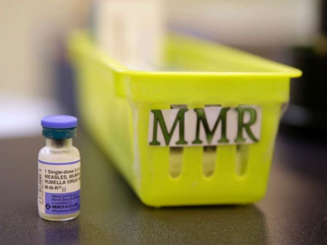 PHOTO: A measles, mumps and rubella vaccine on a countertop at a pediatrics clinic in Greenbrae, Calif.