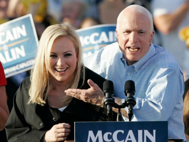 PHOTO: Sen. John McCain introduces his daughter Meghan at a campaign stop in Washington, Pa., Aug. 30, 2008.