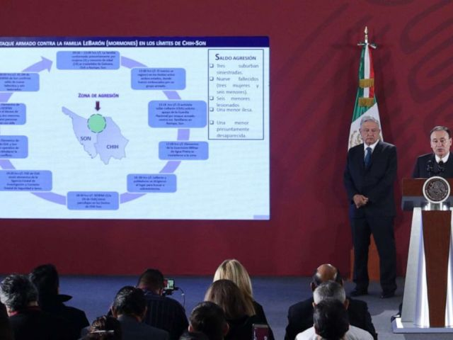 PHOTO: Mexican President Andres Manuel Lopez Obrador and the Secretary of Public Security Alfonso Durazo talk about an attack on a Mormon family from the U.S. during a morning press conference in Mexico City, Nov. 5, 2019.