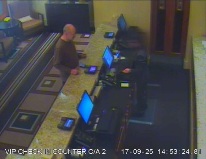 PHOTO: Newly released video shows Stephen Paddock, who shot and killed 58 people in October 2017, at the check-in counter at the MGM Resorts.