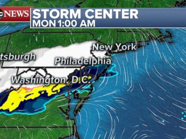 The storm will movement into the Northeast in a single day into Monday morning.