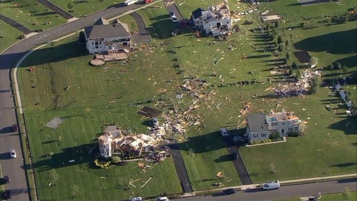 PHOTO: Homes in Mullica Hills, N.J., show severe damage from storms and a tornado spawned by the remnants of Hurricane Ida, Sept. 2, 2021.