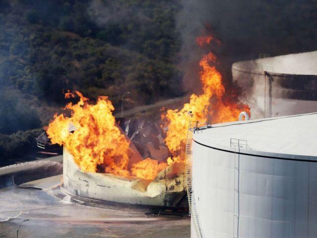 PHOTO: An ethanol tank burns at the NuStar Energy facility in Crockett, Calif., Oct. 15, 2019.