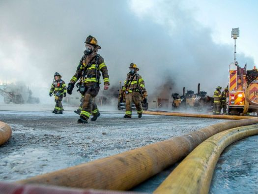PHOTO: More than a dozen fire companies work at the scene of a fire at Lindys Paving warehouse, Jan. 31, 2019, in Big Beaver Township, Pa.