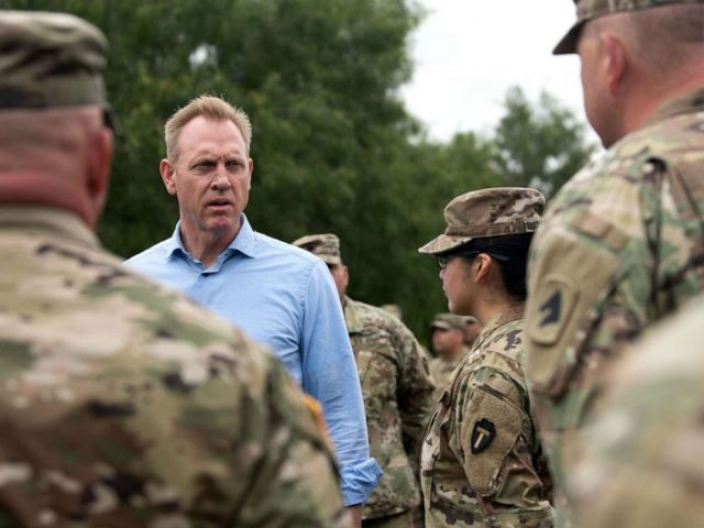 PHOTO: U.S. Acting Secretary of Defense Patrick M. Shanahan and Acting Secretary of Homeland Security Kevin McAleenan meet with U.S. Army Soldiers and National Guard Soldiers during a visit to the southern border in McAllen, Texas, May 11, 2019.