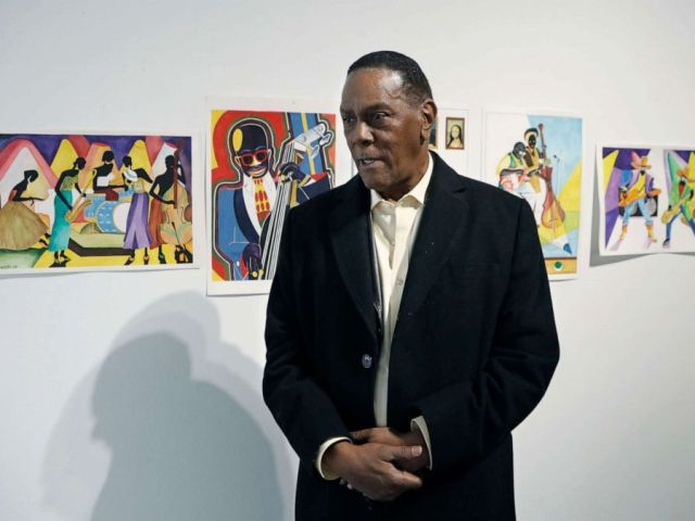 PHOTO: Richard Phillips stands next to some of his artwork during an interview at the Community Art Gallery in Ferndale, Mich., Jan. 17, 2019. Phillips was exonerated of murder in 2018 after 45 years in prison.