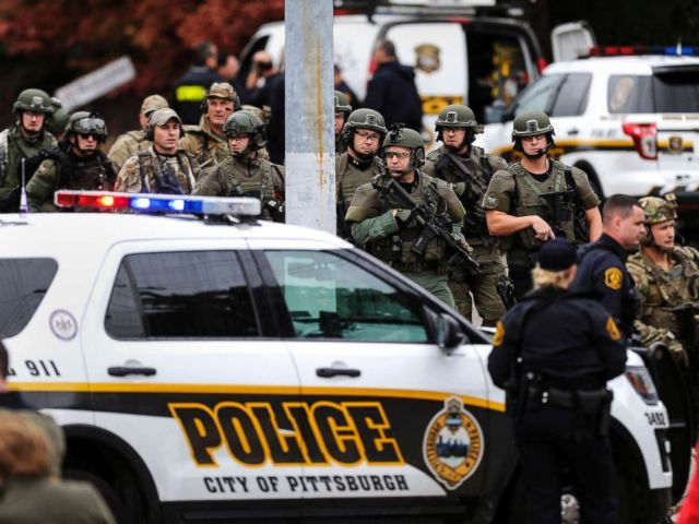 PHOTO: Law enforcement officers secure the scene where multiple people were shot, Oct. 27, 2018, at the Tree of Life Congregation in Pittsburghs Squirrel Hill neighborhood.