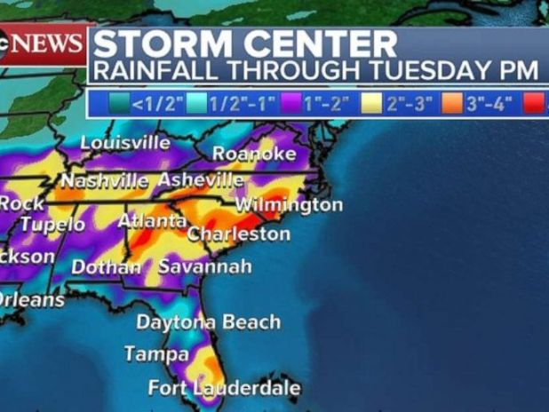 Rainfall totals will be heaviest through Georgia, South Carolina and North Carolina through Tuesday.