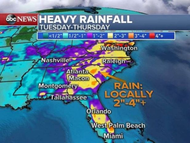 Rainfall could be 2 to 4 inches or more, especially in eastern Florida and parts of Georgia and South Carolina.