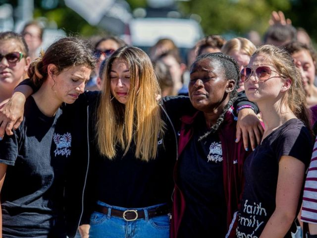 PHOTO: Students attend a prayer service at Parkridge Church in Coral Springs, Fla., a day after a mass shooting occurred at the nearby Marjory Stoneman Douglas High School, Feb. 15, 2018.