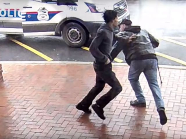 PHOTO: Authorities acknowledged a bystander helped them bewitch an armed man on the bustle by tripping him, April Three, 2018, Columbus, Ohio.