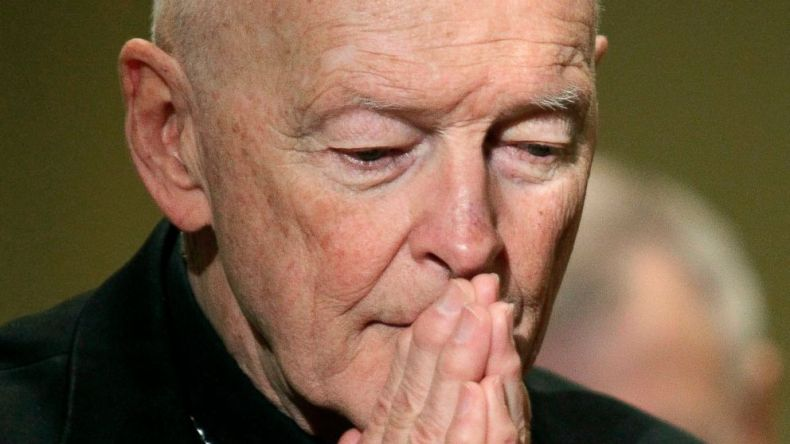 In this Nov. 14, 2011, file photo, then Cardinal Theodore McCarrick prays during the United States Conference of Catholic Bishops' annual fall assembly in Baltimore.