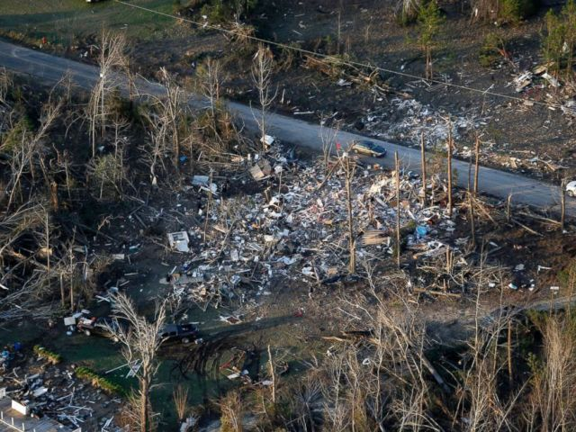 PHOTO: Destruction is seen from tornadoes in Lee County, Ala., March 4, 2019.